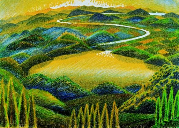 Gerardo Dottori, Paesaggio umbro, 1944, disegno a matite colorate, 29x42 cm
