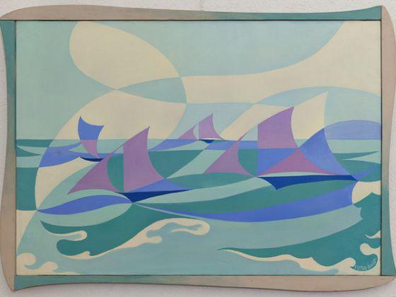 Giacomo Balla, Linee-Forza di mare, 1919, olio su tela, 70x100 cm