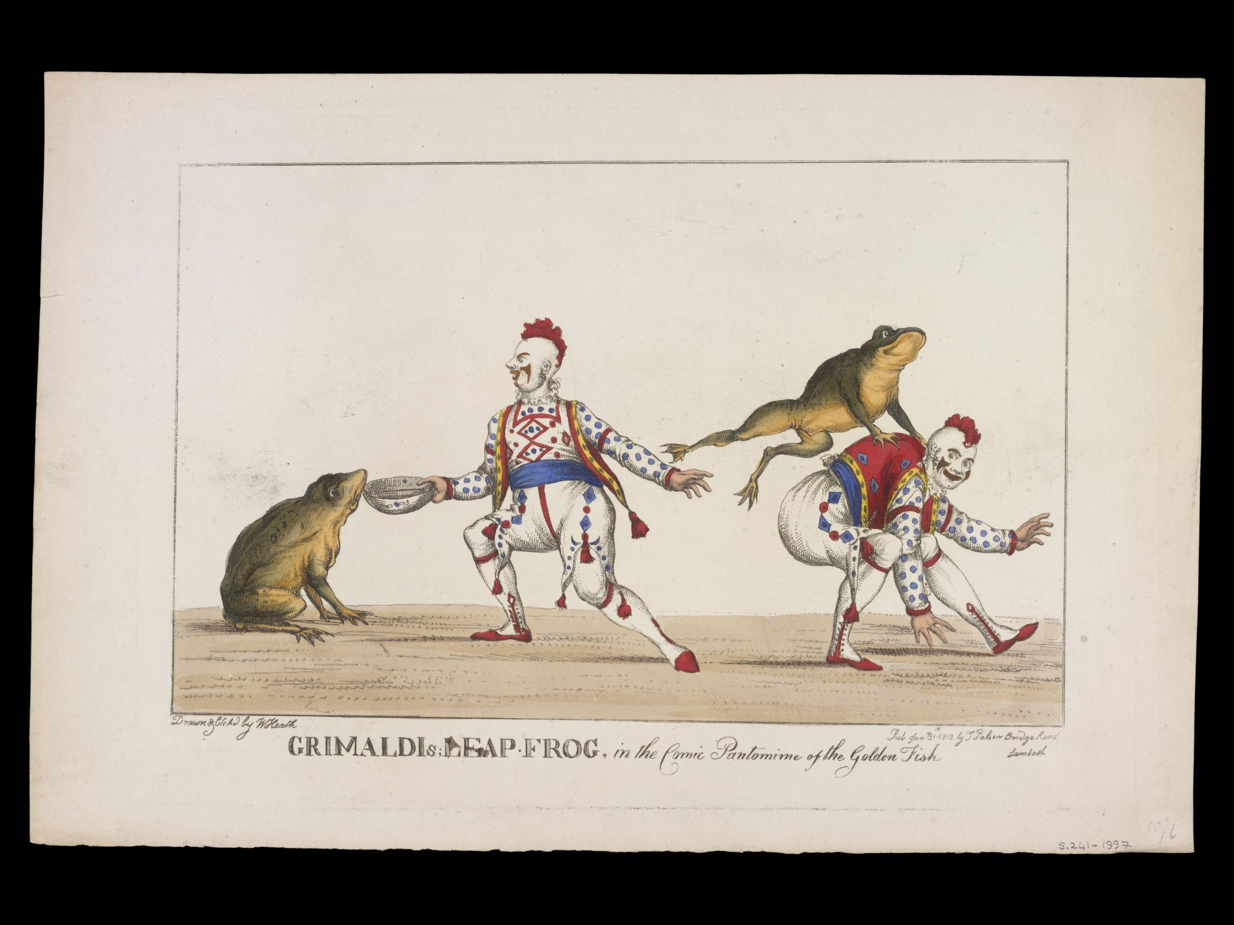 Grimaldi's Leap Frog in the Comic Pantomime of the Golden Fish, stampa, 1812 © Victoria and Albert Museum, London