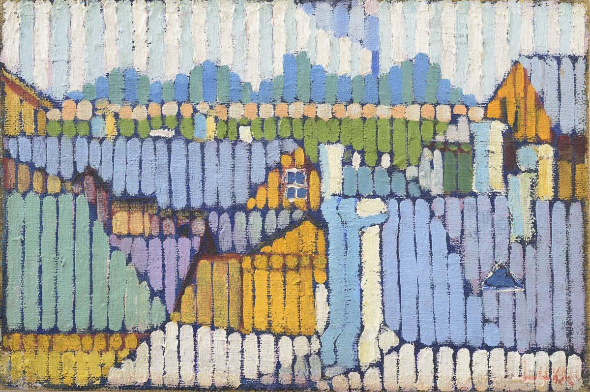 Herbert Lukk, Street, Board Fences and Houses, 1918