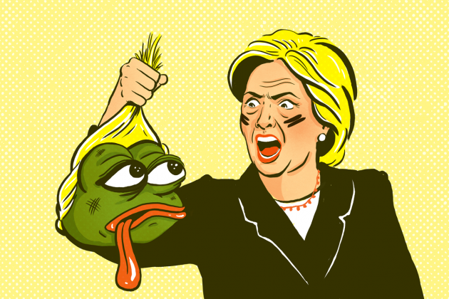 Hillary Clinton con lo scalpo di Pepe the Frog