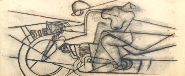 Ivo Pannaggi, Il ratto de' Europa, 1936-68, spolvero matita su carta, 76x160,8 cm
