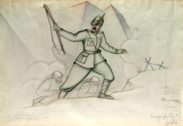 Ivo Pannaggi, Soldati della prima guerra mondiale, 1920 ca., tecnica mista su carta, 52,5x72 cm