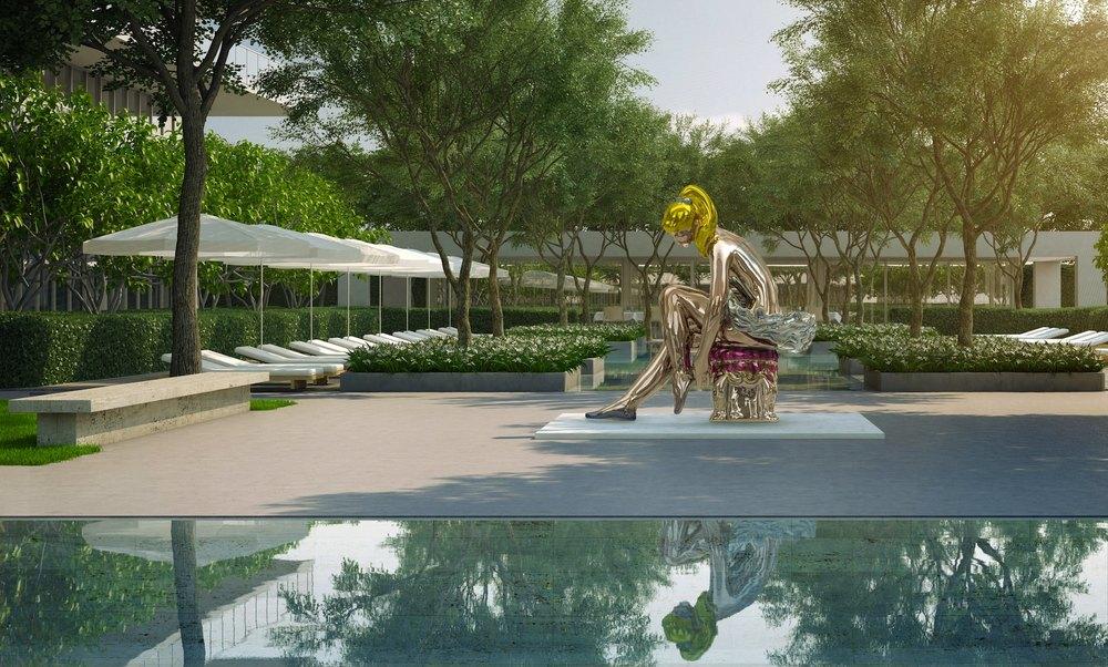 Jeff Koons, Seated Ballerina, installazione permanente presso Oceana Bal Harbour di Miami