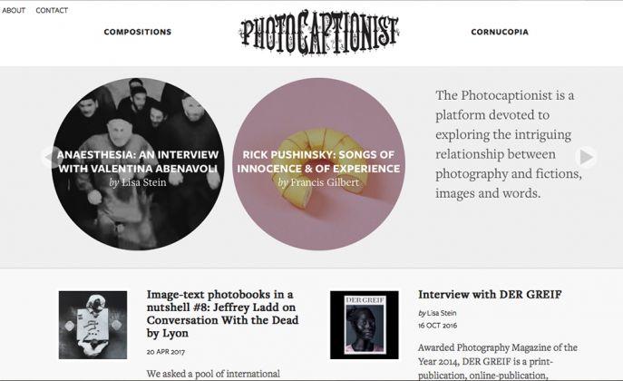 La homepage della piattaforma foto-letteraria Photocaptionist