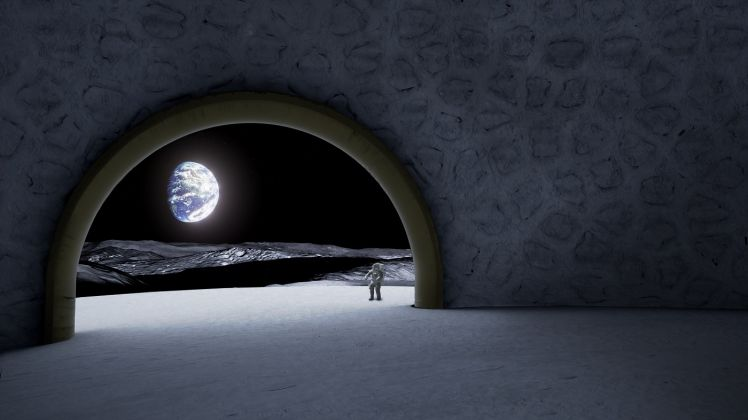 La terra vista dalla luna. Uno scorcio del tempio lunare progettato da Jorge Mañes Rubio per l'ESA