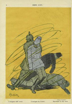 """Leonetto Cappiello, L'uragano dell'ovest, """"Sempre avanti"""" n. 8, 27 ottobre 1918"""