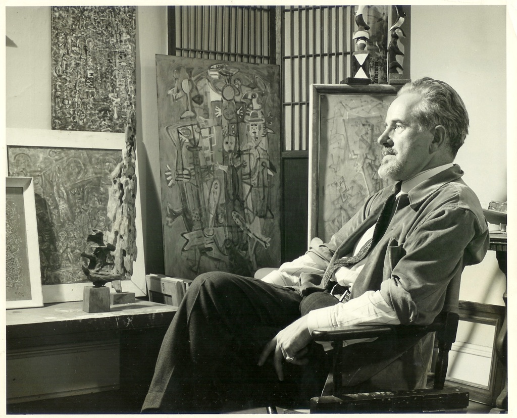 Mark Tobey nel suo studio, 1949. Courtesy Arthur Lyon Dahl. Photo Larry Novak
