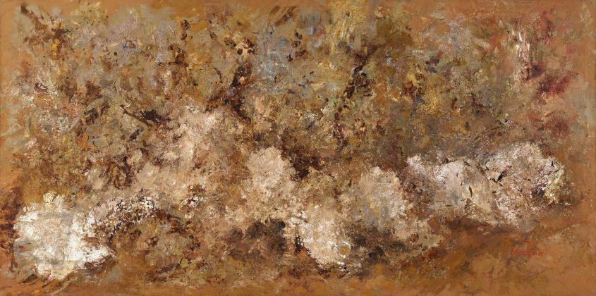 Salvatore Nocera, Vigne al tramonto, olio su tela, 200x100 cm, 1973