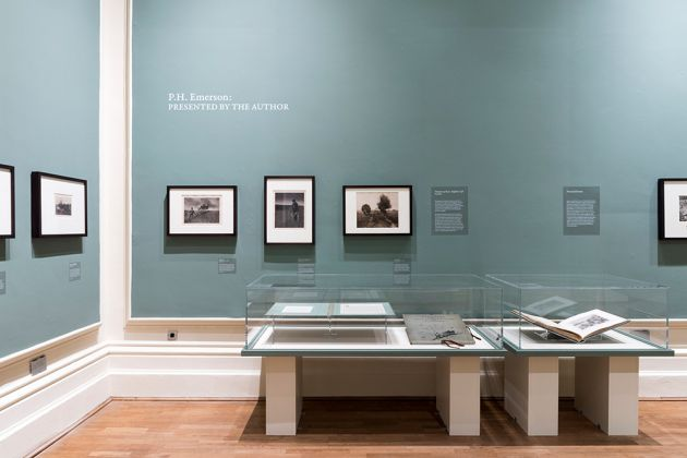 P.H. Emerson Presented by the Author. Exhibition view at Nottingham Castle Museum, Victoria and Albert Museum Art Fund 2015