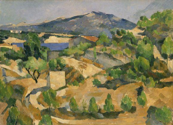 Paul Cézanne, Montagnes en Provence (Le Barrage de François Zola), 1879 ca., olio su carta applicato su tela, cm 53.5 x 72.4, National Museum of Wales, Cardiff