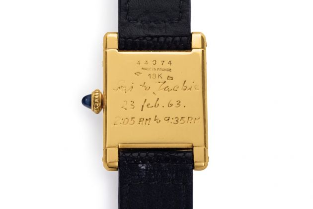 L'orologio Cartier di Jacqueline Kennedy Onassis (iscrizione sul retro)