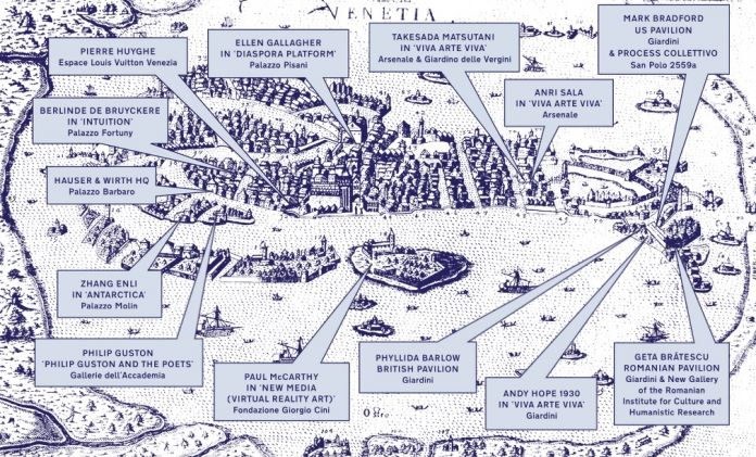 Mappa degli eventi di Hauser & Wirth durante la Biennale d'arte di Venezia