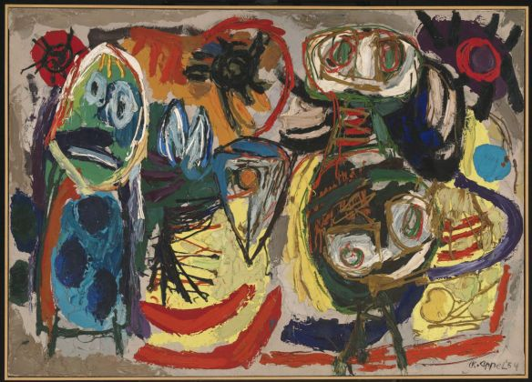 People, Birds and Sun 1954 by Karel Appel 1921-2006
