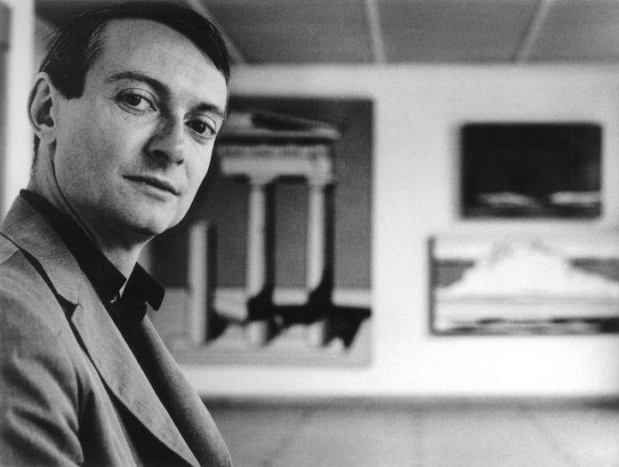 Roy Lichtenstein at his 1965 solo exhibition, at Galerie Ileana Sonnabend, Paris. Photo: shunk-kender/©j. paul getty trust