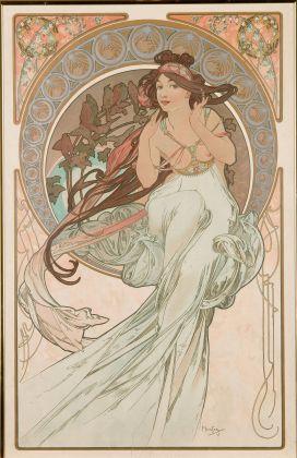 Alfons Mucha (1860-1939), Les Arts: Musique, Danse, Poesie,Peinture, 1898 Quattro litografie a colori su carta. 60 × 38 cm. UPM inv. n. GP 20 952-20 955