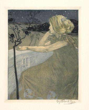 Vojtěch Preissig (1873-1944) Na balkoně / Dívčí touha (Al balcone/ Desiderio di una giovane donna), 1903 Foglio n. 1 dell'album. Coloured Etchings. Acquaforte a colori su carta. 63,4 × 44,5 cm (foglio), 25,3 × 20 cm (stampa). UPM inv. no. G 1 885 A/1