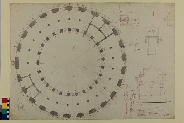 Annotated plan of the Halle au Blé and design sketches Courtesy Wallraff-Richartz Museum & Fondation Corboud