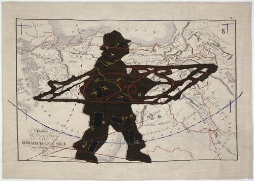 William Kentridge, Porter series: Expedition de jeune Cyrus et retraite des dix mille (with wrought iron), 2009, arazzo, mohair e ricami in seta