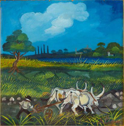 Antonio Ligabue, Aratura coi buoi, 1950-55, olio su faesite, 46x44 cm