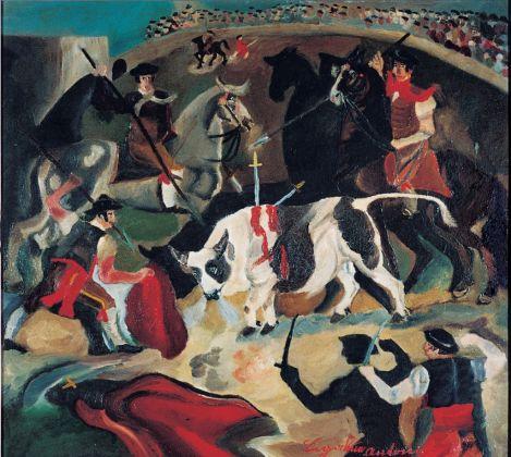 Antonio Ligabue, Corrida, 1931 32, olio su tavola di compensato, 55x61 cm