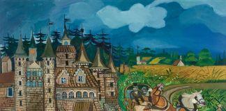 Antonio Ligabue, Diligenza con castello, 1957 58, olio su tela, 70x100 cm