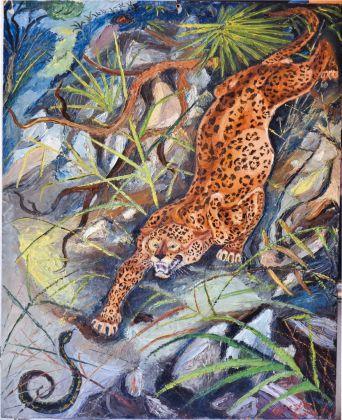 Antonio Ligabue, Leopardo con serpente, 1942 44, olio su tavola di compensato, 48x38,8 cm