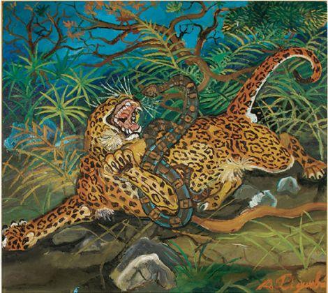 Antonio Ligabue, Leopardo con serpente, 1953 55, olio su tavola di faesite, 51x56,7 cm