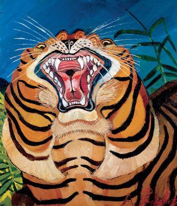 Antonio Ligabue, Testa di tigre, 1955 56, olio su tavola di faesite, 75x64 cm