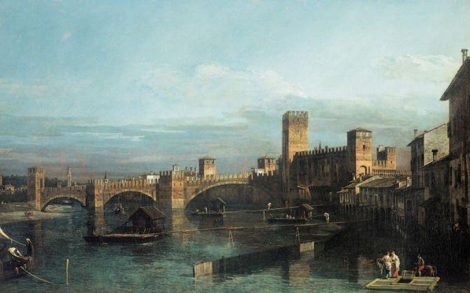 Bernardo Bellotto, Ponte di Castelvecchio a Verona, olio su tela, 1740. Fondazione Cassa di Risparmio di Verona Vicenza Belluno e Ancona