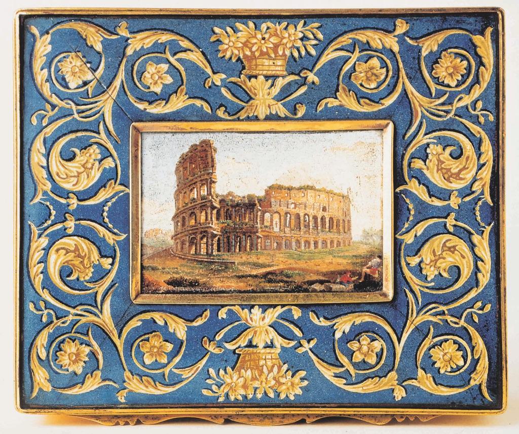 Bottega romana, Cofanetto smaltato con veduta del Colosseo, prima metà del XIX sec. Città del Vaticano, Musei Vaticani