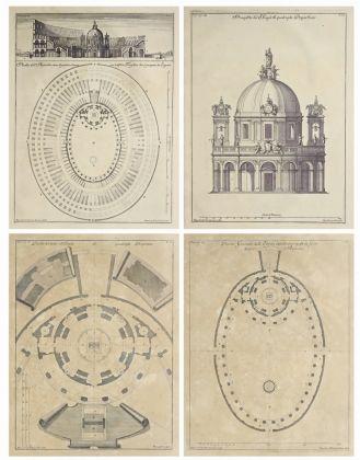 """Carlo Fontana, Progetto per una chiesa nel Colosseo, simbolo della """"Ecclesia Triumphans"""". Da L'Anfiteatro Flavio descritto e delineato dal Caval. Carlo Fontana diviso in sei libri"""
