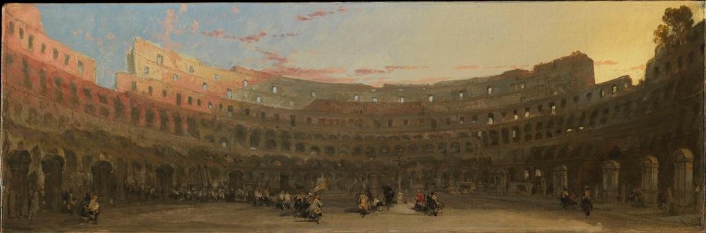 David Roberts, Interno del Colosseo al tramonto con personaggi, anni '50 del XIX secolo. Roma, Collezione Apolloni