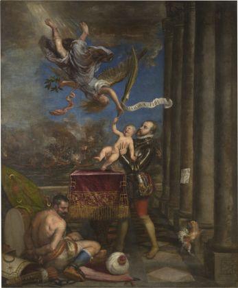 Philip II offering infante don Fernando Tiziano Oil on canvas 1573 - 1575 Madrid, Museo Nacional del Prado