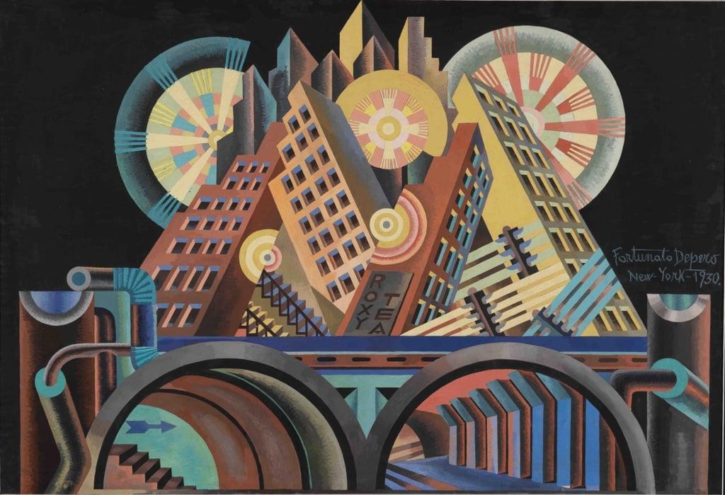 Fortunato Depero, Grattacieli e Tunnel, 1930. MART, Rovereto. Fondo Depero © MART – Archivio Fotografico e Mediateca
