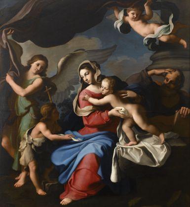 Gian Domenico Cerrini, Sacra Famiglia con San Giovannino e due angeli, olio su tela, 1650. Fondazione Cassa di Risparmio di Perugia