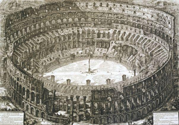 Giovanni Battista Piranesi, Veduta a volo d'uccello del Colosseo, 1776. Roma, Fondazione Besso