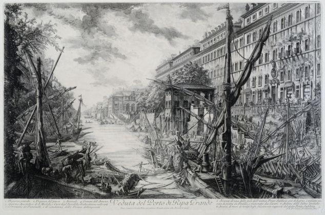 Giovanni Battista Piranesi, Veduta del Porto di Ripa Grande e del Tevere con le imbarcazioni, 1753 1758, acquaforte, Museo di Roma