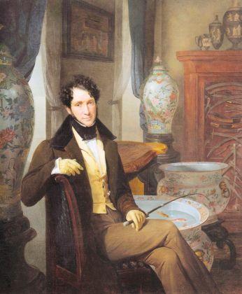 Giuseppe Molteni, Ritratto di un collezionista, 1835 ca., olio su tela. Collezione privata