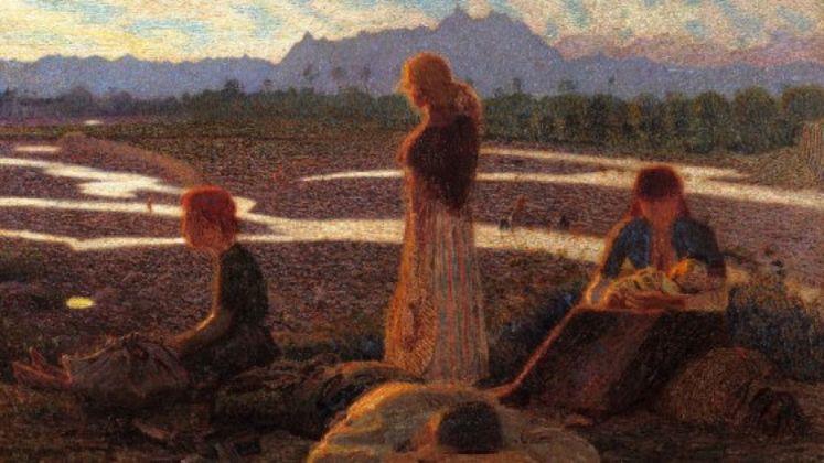 Giuseppe Pellizza da Volpedo, Membra stanche o Famiglia di emigranti, 1905 06 ca., olio su tela. Fondazione F.C. per l'Arte