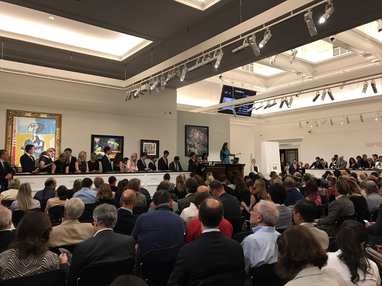 Alcuni momenti dell'asta Sotheby's Impressionist and Modern Art 2017 a Londra