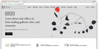 La homepage di Artsy.net