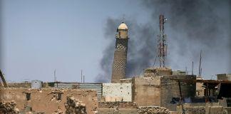 La moschea Al-Nuri di Mosul dopo lo scoppio delle mine di Daesh