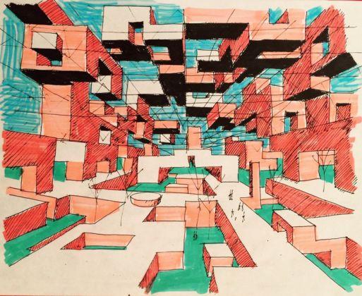 Visualizzazione dell'interno della Ville Spatiale Anni Sessanta Courtesy Marianne Polonsky Collection/ Yona Friedman