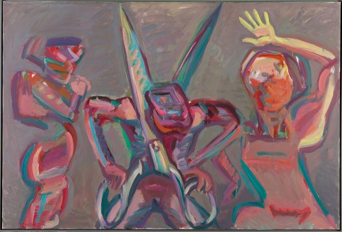 Maria Lassnig, Mann sich entzweischneidend, 1986. Albertina, Vienna. The Essl Collection