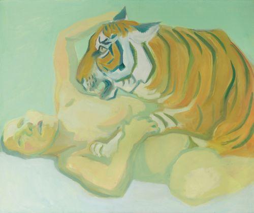 Maria Lassnig, Mit einem Tiger schlafen, 1975. Albertina, Vienna
