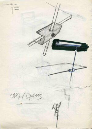 Schizzo di Vico Magistretti, lampada Ekon, prod. Oluce, 1977 © Fondazione studio museo Vico Magistretti