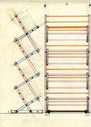 Schizzo di Vico Magistretti, libreria Bath, sistema Broomstick, prod. Alias, 1979 © Fondazione studio museo Vico Magistretti