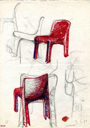 Schizzo di Vico Magistretti, sedia Selene, prod. Artemide, 1969 © Fondazione studio museo Vico Magistretti