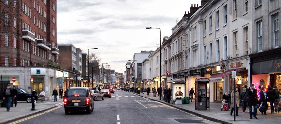 Una veduta della King's Road a Chelsea